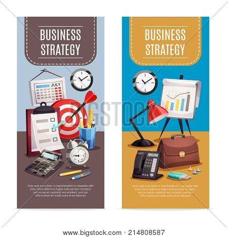 Business strategy 2 vertical colorful banners set with office workplace retro clock target planner isolated vector illustration