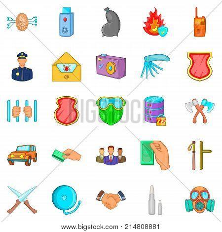 Criminality icons set. Cartoon set of 25 criminality vector icons for web isolated on white background