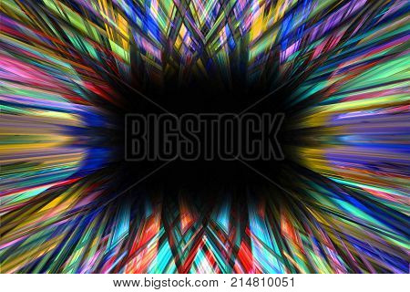 Colourful starburst explosion border frame with black copy space
