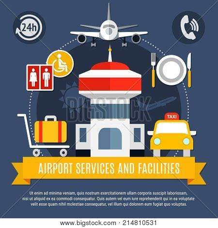 Airport services and facilities flat air travel advertisement poster with traffic control tower taxi luggage vector illustration