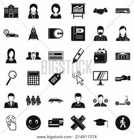 Initiation icons set. Simple style of 36 initiation vector icons for web isolated on white background