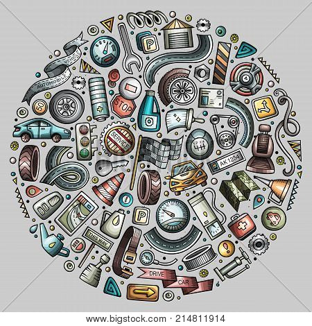 Colorful vector hand drawn set of Automobile cartoon doodle objects, symbols and items. Round composition