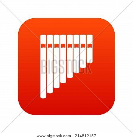Pan flute icon digital red for any design isolated on white vector illustration