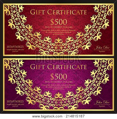 Luxury Red And Purple Gift Certificate With Rounded Golden Lace Decoration And Vintage Background