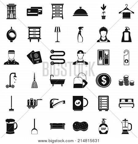 Inn service icons set. Simple style of 36 inn service vector icons for web isolated on white background