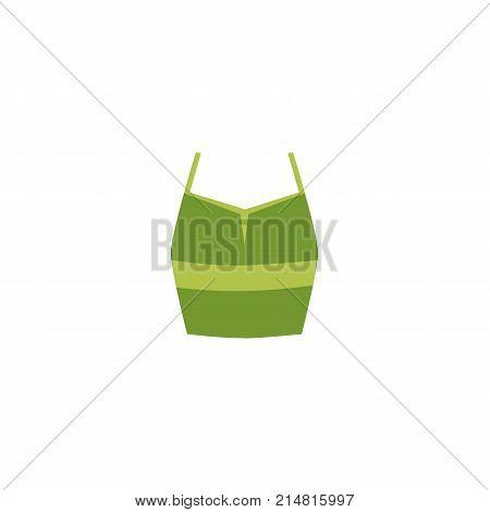 vector flat cartoon women green casual feminine summer tank sleeveless top t shirt. Fashionable trendy style female clothing. Isolated illustration on a white background.