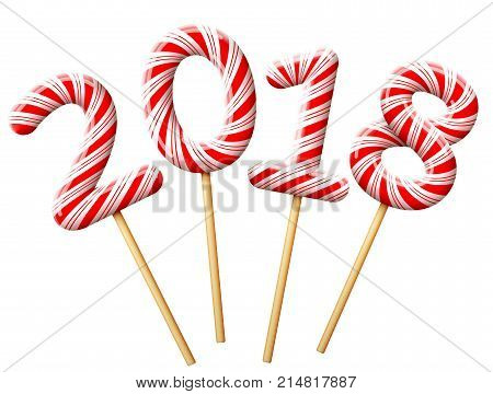 New Year 2018 in shape of candy on wooden stick. Year number of striped peppermint lollipops. Best vector image for christmas new years day sweet-stuff winter holiday dessert new years eve