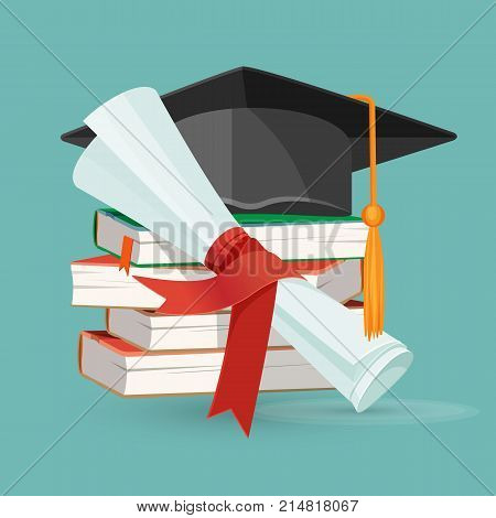 Degree scroll on background of pile of books and black graduation cap with tassel vector illustration with textbooks, diploma and hat isolated on blue