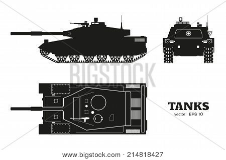 Silhouette of realistic tank blueprint. Armored car on white background. Top side front views. Army weapon. War camouflage transport. Vector illustration