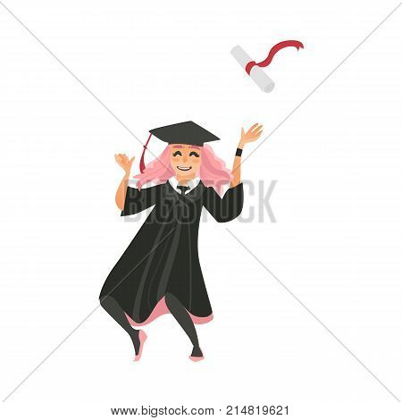 Girl in graduation cap and gown throwing diploma up, dancing from happiness, flat vector illustration isolated on white background. Happy pink-haired graduating girl, cap and gown throwing diploma up