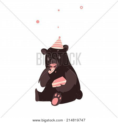 Big brown bear in party hat sitting and eating a piece of layered birthday cake, cartoon vector illustration isolated on white background. Funny bear in birthday hat eating cake, sitting