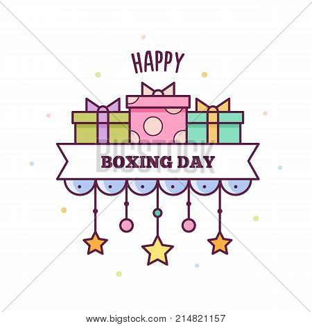 Happy Boxing Day. Vector illustration of presents.