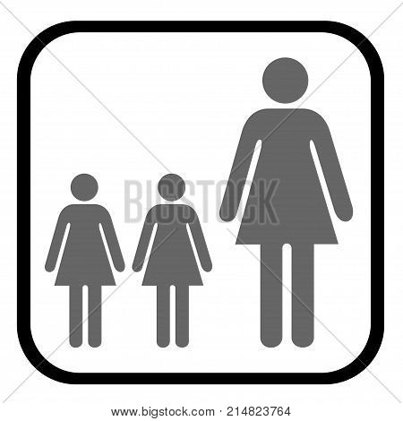 Two children accompanied by an adult vector
