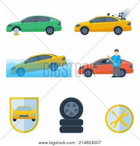 Set of insurance cases of car crash stolen wheel, falling rocks, drowning machine, broken window by thief, damaged cars isolated on white vector with service logos