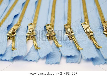 zippers isolated on white fastener fashion sewing tailor