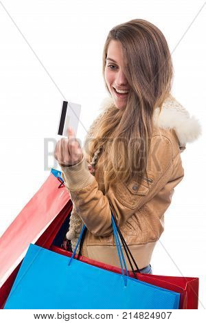Beautiful Young Girl With Debit  Card