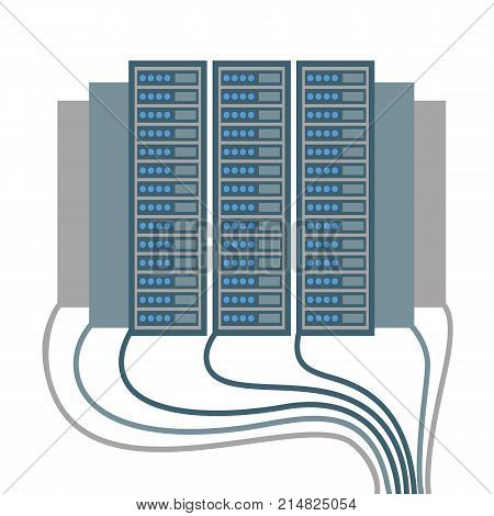 Data centre, poster with icons of cables and blocks joined together, objects that make up unity of network connection vector illustration isolated on white