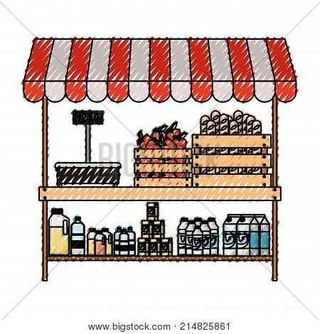 supermarket shelf with weighing machine and sunshade colorful with foods and beverages in colored crayon silhouette vector illustration