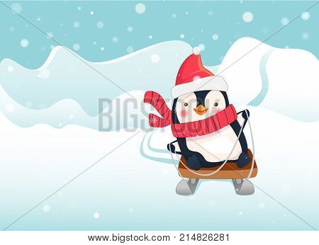 Penguin is riding a sled. Penguin cartoon illustration.