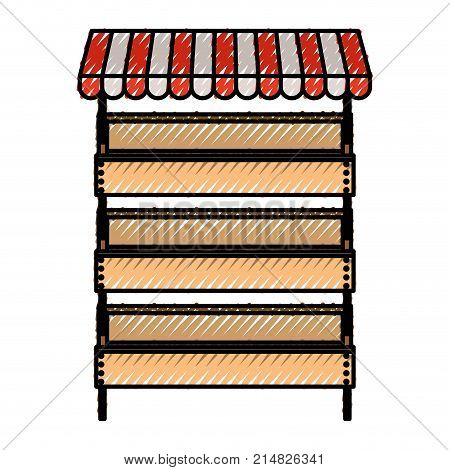 supermarket shelves with big storage with three levels and sunshade in colored crayon silhouette vector illustration