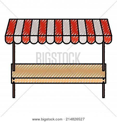 supermarket shelf of one level and sunshade in colored crayon silhouette vector illustration