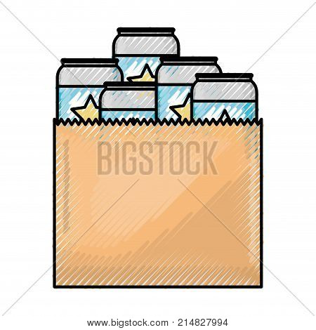 paper bag with canned beers in colored crayon silhouette vector illustration