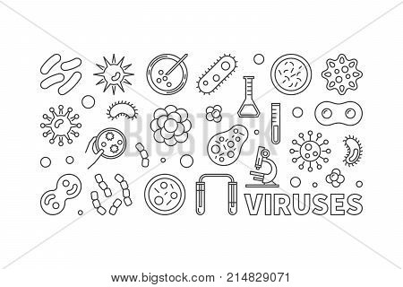 Viruses vector illustration or banner made with virus and bacteria line icons on white background