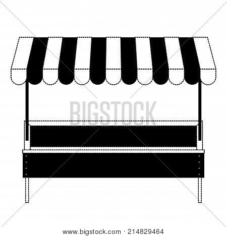 supermarket shelf with big storage of one level and colorful sunshade in black dotted silhouette vector illustration