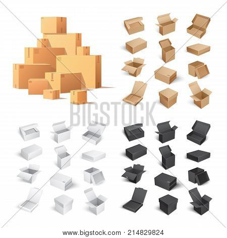 Collection of big and small carton boxes of different color isolated on white background. 3d vector illustration of cardboard containers
