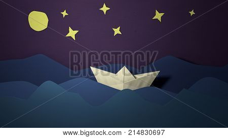 Papercut sailing boat postcard. Paper boat in the sea waves. Cutout ship. Origami crafted paper boat sailing float greeting card. Paper art 3D illustration