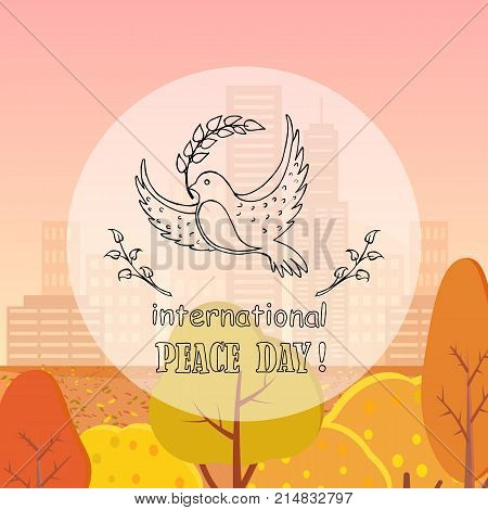 Peace day symbol pigeon with olive branch in beak vector illustration. Dove with in concept of harmony and love logo on autumn city park background