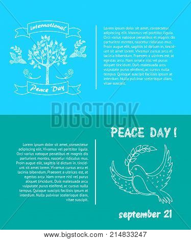 Peace Day symbols pigeon with olive branch in beak and tree with doves vector illustrations set. Concept of harmony and love poster with text