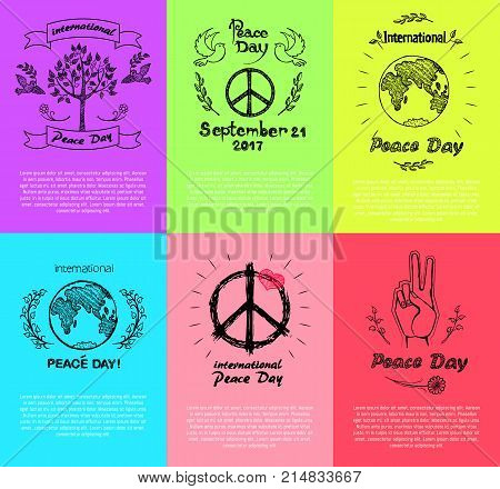 Set of colorful posters for International Peace Day. Vector with peace symbols like doves, plants and trees silhouettes, hippie logos, fingers and Earth