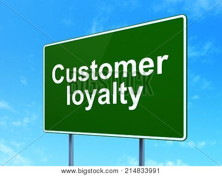 Marketing concept: Customer Loyalty on green road highway sign, clear blue sky background, 3D rendering