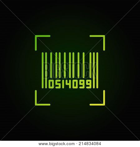 Bar code vector green line icon or symbol on dark background