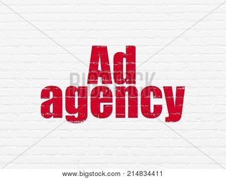 Marketing concept: Painted red text Ad Agency on White Brick wall background