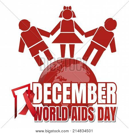World Aids Day. 1 December. Red ribbon of AIDS awareness and globe with people. World Aids Day concept. Vector illustration