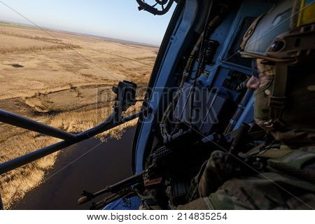 Ukrainian Army Helicopter During A Combat Mission