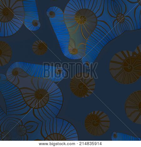 Abstract geometric background. Spirals pattern with wavy lines in gold, brown, azure blue, dark blue and gray.