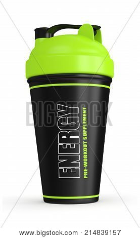 3D Render Of Pre-workout Shaker Over White