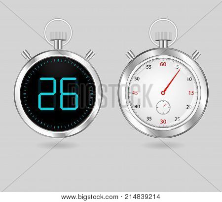 digital and analog speedometers timers set vector