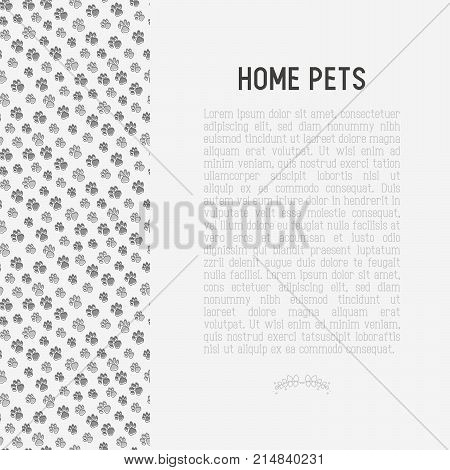 Pet paws concept with place for text. Thin line vector illustration for pet shop, training. shelter.