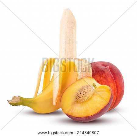 Ripe Peeled Banana And Sweet Peach One Cut In Half
