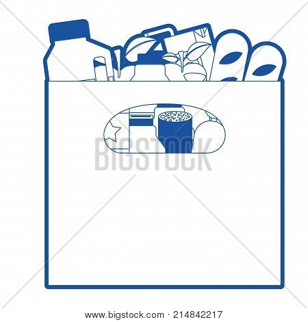 big paper bag with handle and foods sausage and bread apples and drinks orange juice and water bottle and lacteal in blue silhouette vector illustration