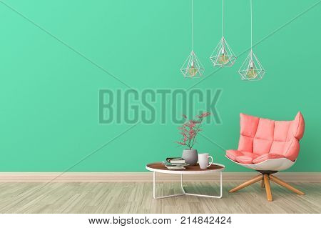 Minimal. Green living room interior with rose or pink fabric armchair, cabinet, coffee cup and plants on empty green wall background.3d rendering.
