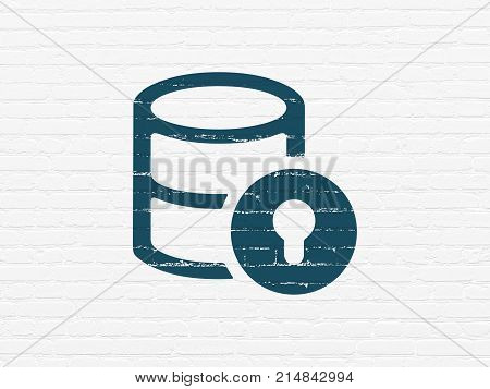 Database concept: Painted blue Database With Lock icon on White Brick wall background