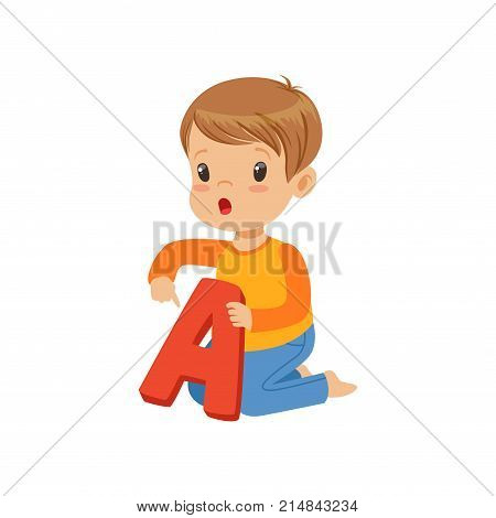Little boy learning correct pronunciation of letter A. Colorful cartoon kid character in flat style. Fun educational game. Isolated vector illustration. Design for infographic poster, flyer, brochure.