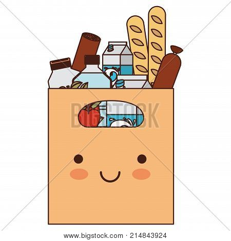 kawaii rectangular paper bag with handle and foods sausage and bread apples and drinks orange juice and water bottle and milk carton in colorful silhouette vector illustration