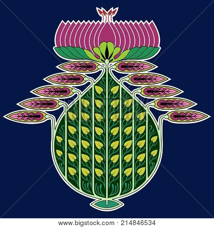 Elaborate vector ornament of leaves and lotus flower, in Nouveau style