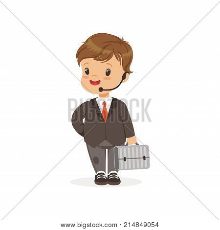 Funny little boy in business suit with hands free headset and suitcase in hand. Role play. Career day in kindergarten. Cartoon preschool child character. Isolated flat design vector illustration.